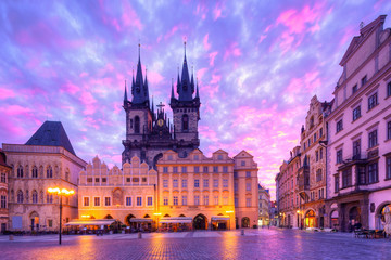 Fotomurales - The Church of Our Lady before Tyn in the Old Town Square, Prague, Czech Republic, Europe.