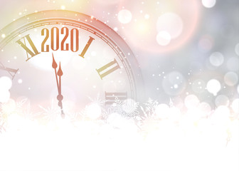Purple shining 2020 New Year background with clock.