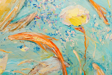 Blue and yellow abstract oil painting as background. Close-up part of the oil painting.(Two yellow turtles swimming in blue water.)