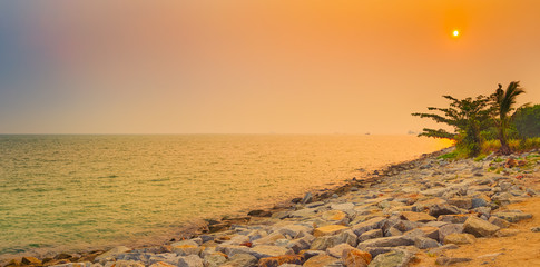 Fototapete - Sunset over the Straits of Malacca. Panorama
