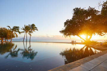 beautiful sunrise and sunset on the island of Mauritius