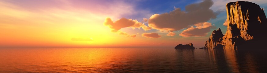Wall Murals Orange Glow Beautiful sea sunset near the rocks, panorama of the sea landscape at sunrise. 3d rendering.