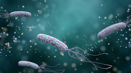 Illustration of Helicobacter pylori bacteria on an abstract color background. Medical concept.