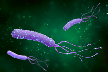 Illustration of Helicobacter pylori bacteria on an abstract green background. Medical concept.