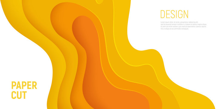 Yellow paper cut banner with 3D slime abstract background and yellow waves layers. Abstract layout design for brochure and flyer. Paper art vector illustration