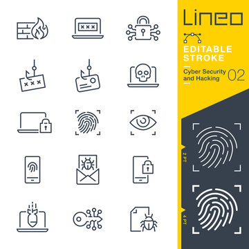 Lineo Editable Stroke - Cyber Security and Hacking outline icons