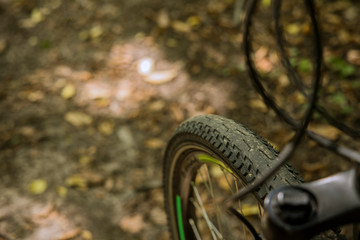 cycle wheel tire brakes wires outdoor blurred background wallpaper picture empty copy space for text