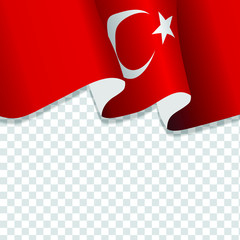 Waving flag of Turkey for independence Day isolated on transparent background
