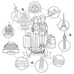 Two people man and women go to travel around the world famous landmark doodle art hand drawing sketch style vector illustrations.