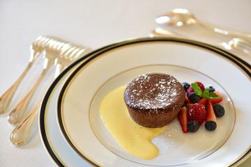 Chocolate Souffle with vanilla sauce