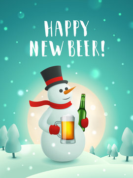 Snowman with beer new year poster. Vector greeting card with snowman holding craft beer mug in the moonlight. Handwritten lettering. Christmas background