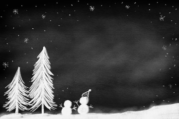 drawing of pine tree with snowman standing on land over chalk black board background with falling snow and snowflakes  and copy space for merry christmas season festive design concept
