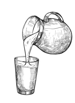 Water, milk or juice is poured from a jug into a glass. Hand drawn illustration converted to vector