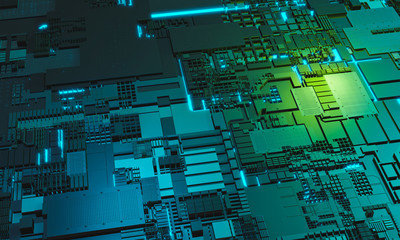 Abstract high tech electronic PCB (Printed circuit board) background in blue and green color. 3d illustration background