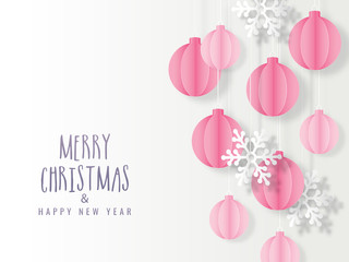 Paper cut baubles hang and snowflake decorated on white background for Merry Christmas & Happy New Year celebration.