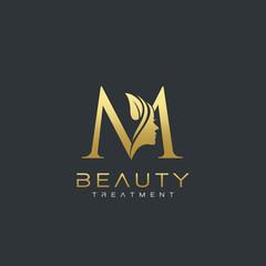 M Letter Luxury Beauty Face Logo Design Vector