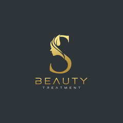 S Letter Luxury Beauty Face Logo Design Vector