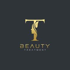 T Letter Luxury Beauty Face Logo Design Vector
