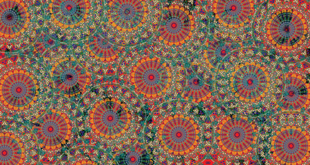 mandala colorful vintage art, ancient Indian vedic background design, old painting texture with multiple mathematical shapes