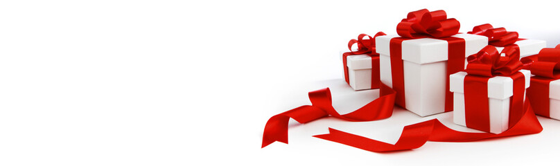 Wall Mural - Gift boxes with red bows on white