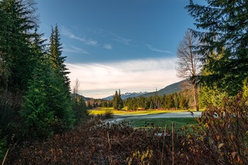 Low angle shot of a beautiful  gulf course in Whistler, BC Canada