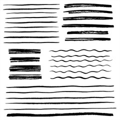 Set, collection of vector uneven lines, wavy stripes, doodle streaks, bars, rough brush strokes. Hand drawn design elements, text underline with rough edges. Waves, scribbles, banners badge templates.