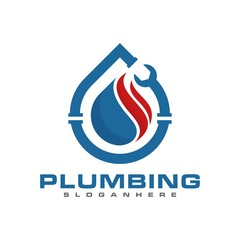 plumbing service and mechanic logo, icon and template