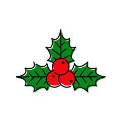 Símbolo navideño, icono plano lineal hojas de acebo en color rojo y verde
