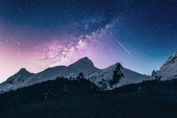 mountains at night