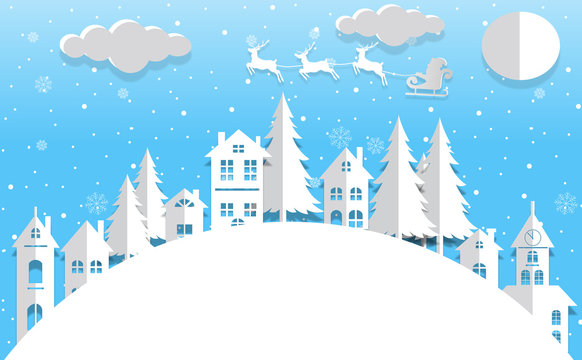 winter landscape with small town christmas