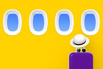 Close up modern purple suitcases bag with sun glasses, hat and airplane window on yellow background. Travel concept. Vacation trip. Copy space. Minimal style. 3D rendering illustration