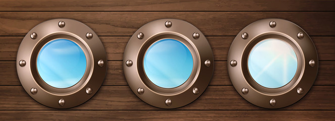 Ship bronze portholes on wooden wall with sky and sun view. Vector realistic shipboard interior with metal brass round windows illuminators with rivets