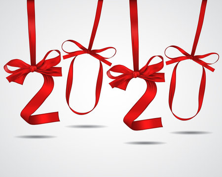 Vector illustration of New Year 2020 made of red ribbons
