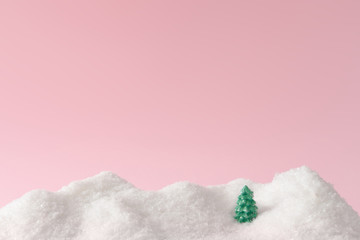 Foto auf Leinwand Rosa hell Beautiful Christmas winter landscape background. Christmas snowy mountains. New Year winter landscape.