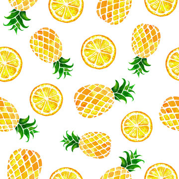 Hand drawn seamless pattern with watercolor pineapples and lemons solated on white background. Colorfull summer seamless background for textile, print and banners. Healthy food concept