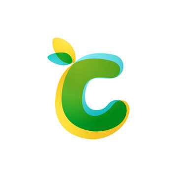 C letter eco logo. Overlapping gradient font with green leaves.