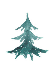 Watercolor green hand-drawn christmas tree isolated on white. Stock raster illustration.