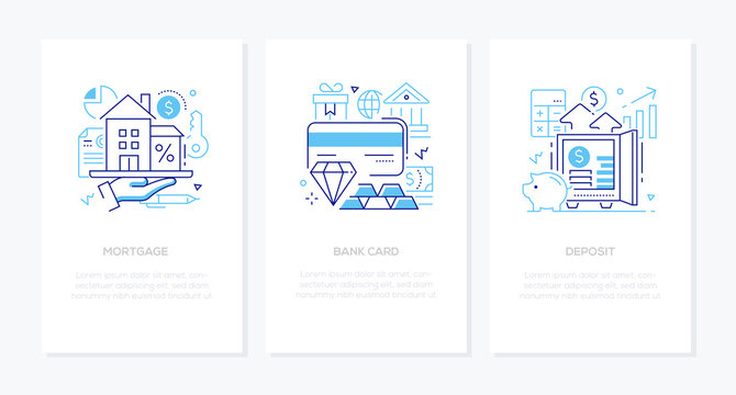 Banking products and services - line design style banners set