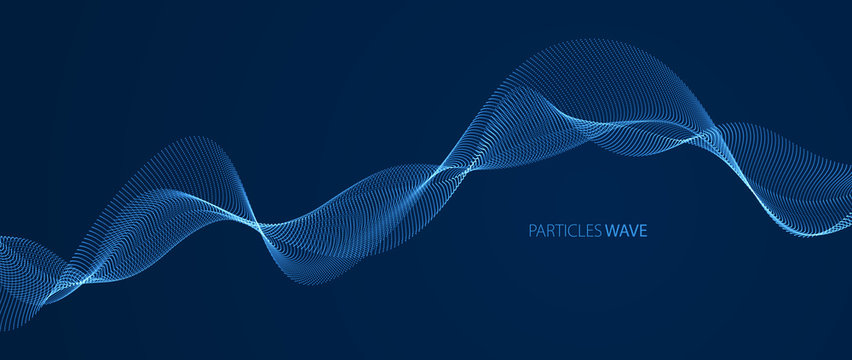 Vector abstract background with wave of flowing particles over dark, smooth curve shape lines, particle array flow. 3d shape glowing dots blended mesh, technology relaxing wallpaper.