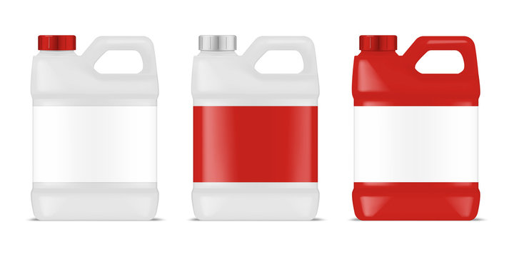 Plastic canister with blank label set. Large bottle container with handle and screw cap. Industrial packaging for chemicals, cleaners, detergents and other liquid products. Vector template