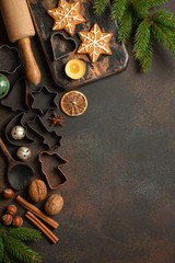 Christmas baking table. Christmas background