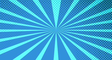 Vintage colorful comic book background. Blue blank bubbles of different shapes. Rays, radial, halftone, dotted effects. For sale banner for your designe 1960s. With copy space eps10.