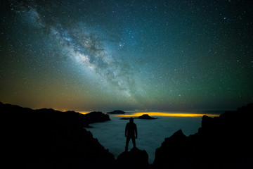 Fotobehang Canarische Eilanden Milky way in La Palma, Canary Islands, Spain