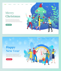 Merry Christmas vector, celebration of new year and winter holidays. People by pine tree drinking champagne and exchanging gifts. Clock and foliage decor. Website or webpage template, landing page