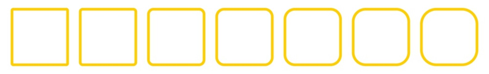 Square Icon Yellow | Round Squares | Foursquare Symbol | Frame Logo | Button Sign | Isolated | Variations Fotomurales
