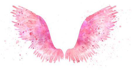 Pink spreaded magic angel watercolor wings Wall mural