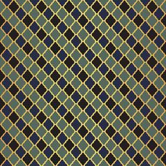Gold and blue Moroccan motif tile pattern. Luxury decorative geometric design.
