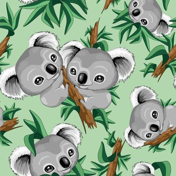 Koala Cute Baby Seamless Repeat Vector Pattern