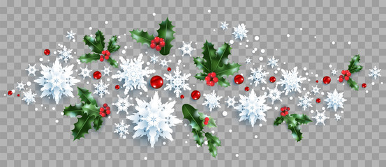 Fotomurales - Decoration with snowflakes and holly