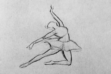 Sketch of a ballerina dancer on grey textured paper